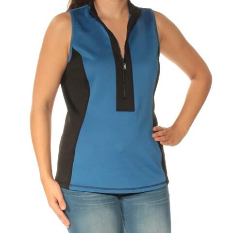 ANNE KLEIN Womens Blue Sleeveless Zip Neck Top Size: 2