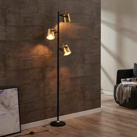 HEATHER 3-Light Floor Lamp with Round Shade Shape by Archiology - Black/Gold