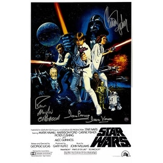 Carrie Fisher 'Princess Leia'Peter Mayhew ChewbaccaDave Prowse 'Darth Vader' Triple Signed Star Wars Episode IV: A