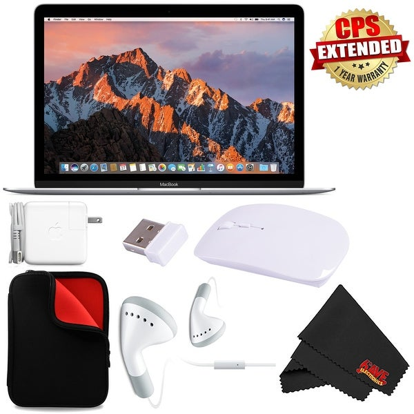 "Apple 12"" MacBook (Mid 2017 Silver) 256GB SSD #MNYH2LL/A + MicroFiber Cloth + Padded Case For Macbook Bundle"