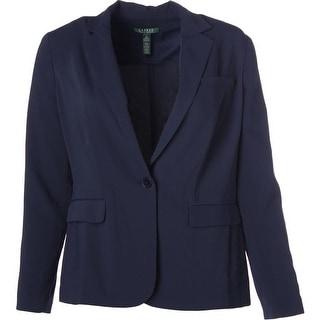 Lauren Ralph Lauren Womens Notch Collar Solid One-Button Blazer - 16