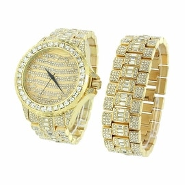 Mens Iced Out Watch & Bracelet Set Gold Finish Simulated Diamonds Stainless Steel Back
