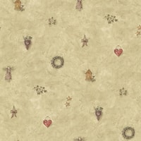 Brewster CTR21713 Apple Creek Beige Country Toss Wallpaper - beige country