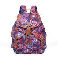 Hearty Trendy Girls Womens Navy Purple Paisley Print Exterior Pockets Backpack - One size