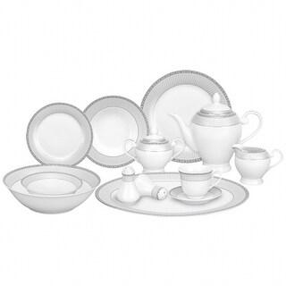 Lorenzo Import Alina-SL 57 Piece Porcelain Dinnerware Set, Service for 8 by Lorren Home Trends