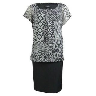 AGB Women's Cap Sleeves Printed Chiffon Blouson Dress - 8