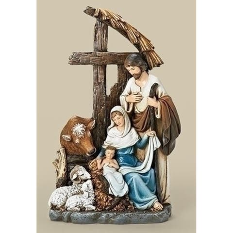 11 Josephs Studio Religious Christmas Holy Family with Cross Stable Figurine - N/A