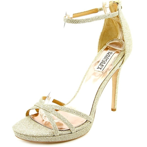Badgley Mischka Signify Women Open Toe Canvas Gold Sandals