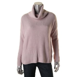 Private Label Womens Wool/Cashmere Blend Ribbed Knit Pullover Sweater