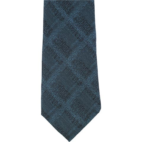 Alfani Mens Plaid Slim Self-tied Necktie, blue, One Size - One Size