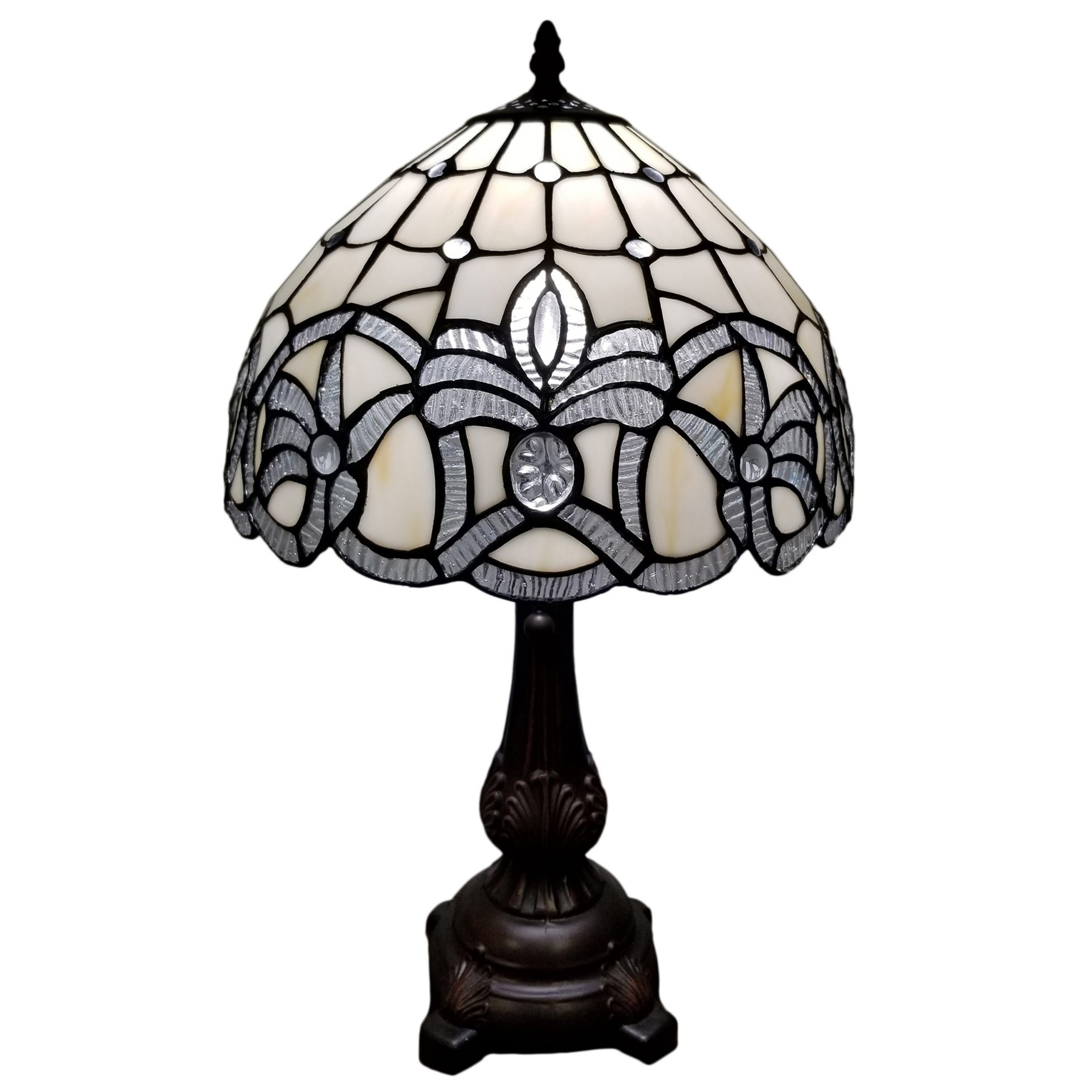 Tiffany Style Table Lamp 19 Tall Stained Glass White Floral Decor Nightstand Bedroom Handmade Gift Am281tl12b Amora Lighting Overstock 29030459