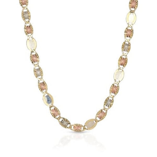 "Mcs Jewelry Inc 10 KARAT THREE TONE, YELLOW GOLD WHITE GOLD ROSE GOLD NECKLACE 3mm (16"") - Multi"