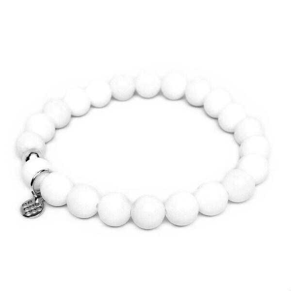 "White Jade Lucy 7"" Sterling Silver Stretch Bracelet"