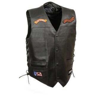 Mens Leather Biker Vest W/ 9 Patches