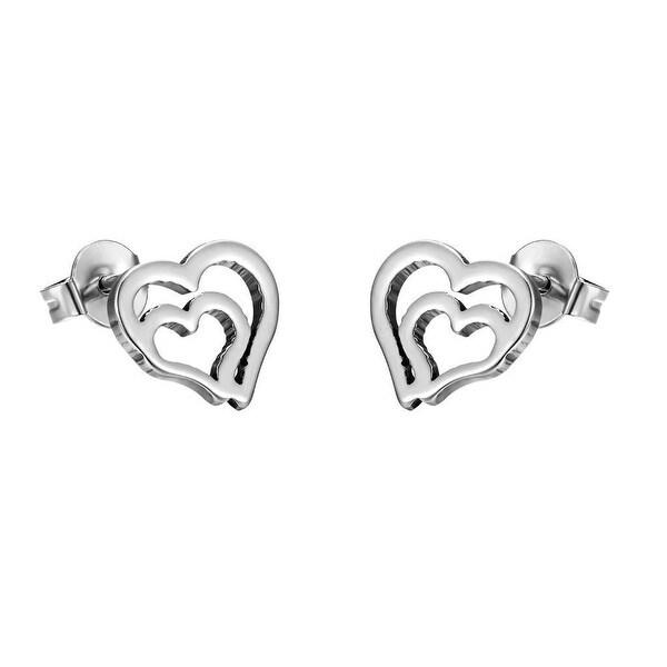 Double Heart Shape Earrings Silver Tone Stainless Steels Womens Studs Classy
