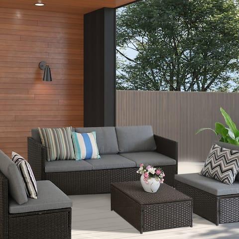 5 Piece Rattan Sectional Sofa Sets Patio Outdoor Furniture