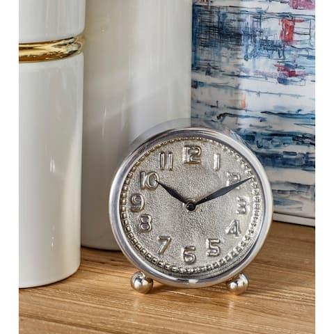 Silver Stainless Steel Glam Clock No Theme 6 x 5 x 2 - 5 x 2 x 6Round