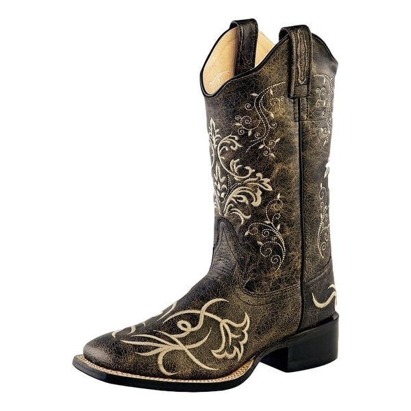 Old West Cowboy Boots Womens Scallop Square Leather Charcoal