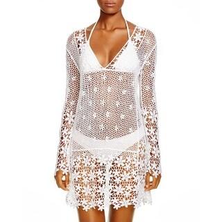 J. Valdi Womens Crochet V-neck Dress Swim Cover-Up