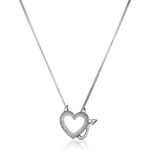 1/10 ct Diamond Devil Heart Pendant in Sterling Silver, 18""