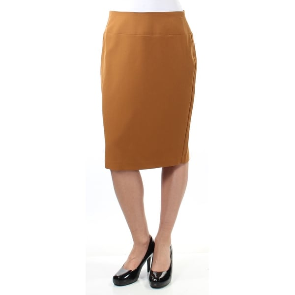 ALFANI Womens Brown Zippered Below The Knee Pencil Wear To Work Skirt Size: 2