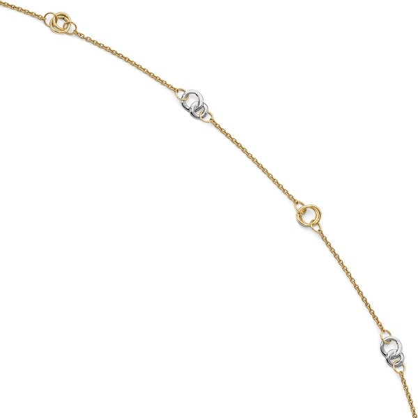 Italian 14k Two-Tone Gold Polished with 1in ext. Anklet - 10 inches