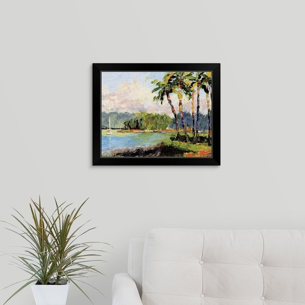 Leslie Saeta Economy Framed Print with Standard Black Frame entitled Hawaiian Palms