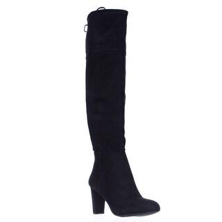 I35 Hadli Fringe Tie Pull On Over The Knee Boots - Black