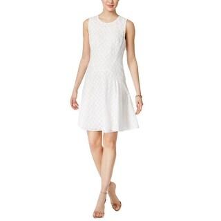 Tommy Hilfiger Eyelet Lace Sleeveless Fit Flare Dress White