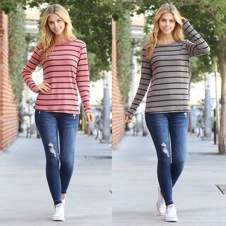 RIAH FASHION'S Long Sleeved Round Neck Striped Waffle Top