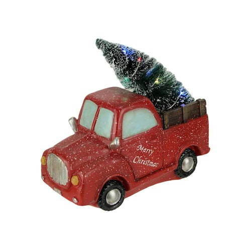 Snowy Red Vintage Truck Hauling LED Light Up Christmas Tree Statue