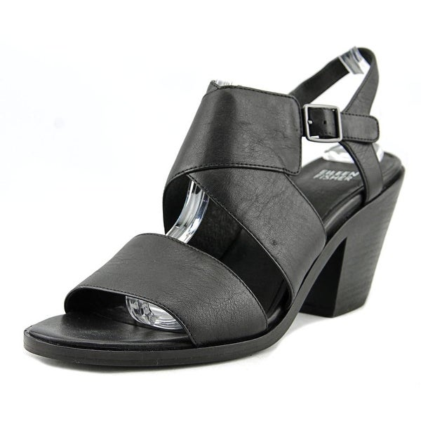 Eileen Fisher Carat-LT Women Open-Toe Leather Black Slingback Sandal