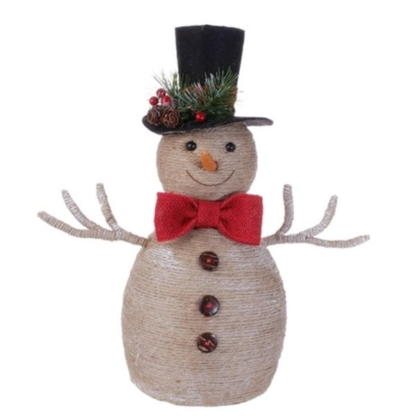 """14.5"""" Country Cabin Burlap Snowman with Top Hat and Scarf Christmas Decoration"""