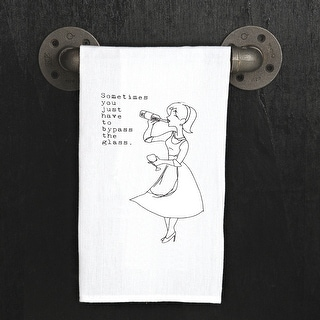 Flour Sack Dish Towel - Bypass the Wine Glass - Funny - White