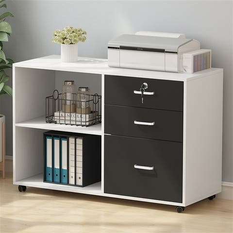 Mobile File Cabinet,Office Storage Printer Stand with 3 Drawers and 2 Open Shelves