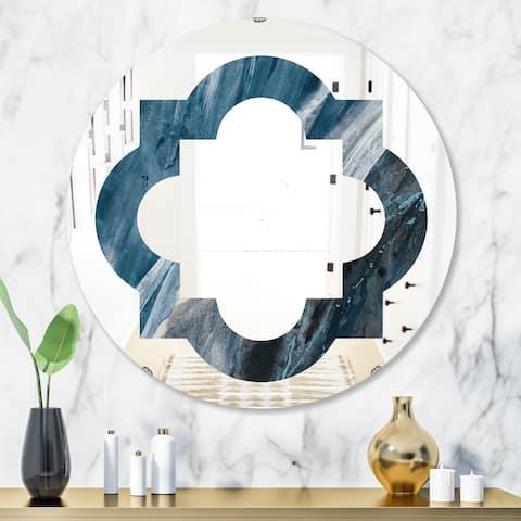Designart 'Splash Blue Indigo' Modern Round or Oval Wall Mirror - Quatrefoil