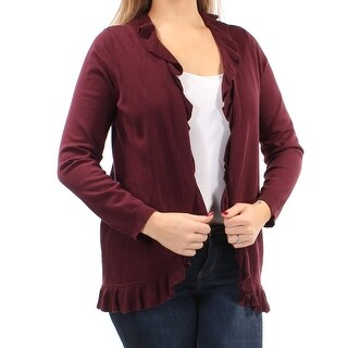 Womens Burgundy 3/4 Sleeve Open Casual Sweater Size XL