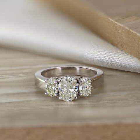 Auriya Platinum 2 carat TW 3-Stone Oval Diamond Engagement Ring Certified