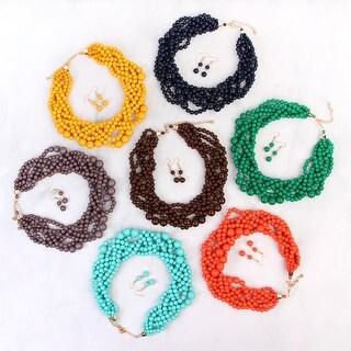 "Riah Fashion's Multi Strand Bubble Choker Necklace and Earring Set - 3"" extender, 17"" length, 1.5"" drop length"