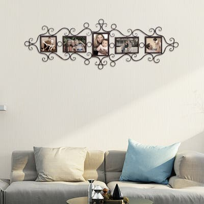 ADECO 5 Openings Metal Filigree Wall Hanging Collage Pic Photo Frame