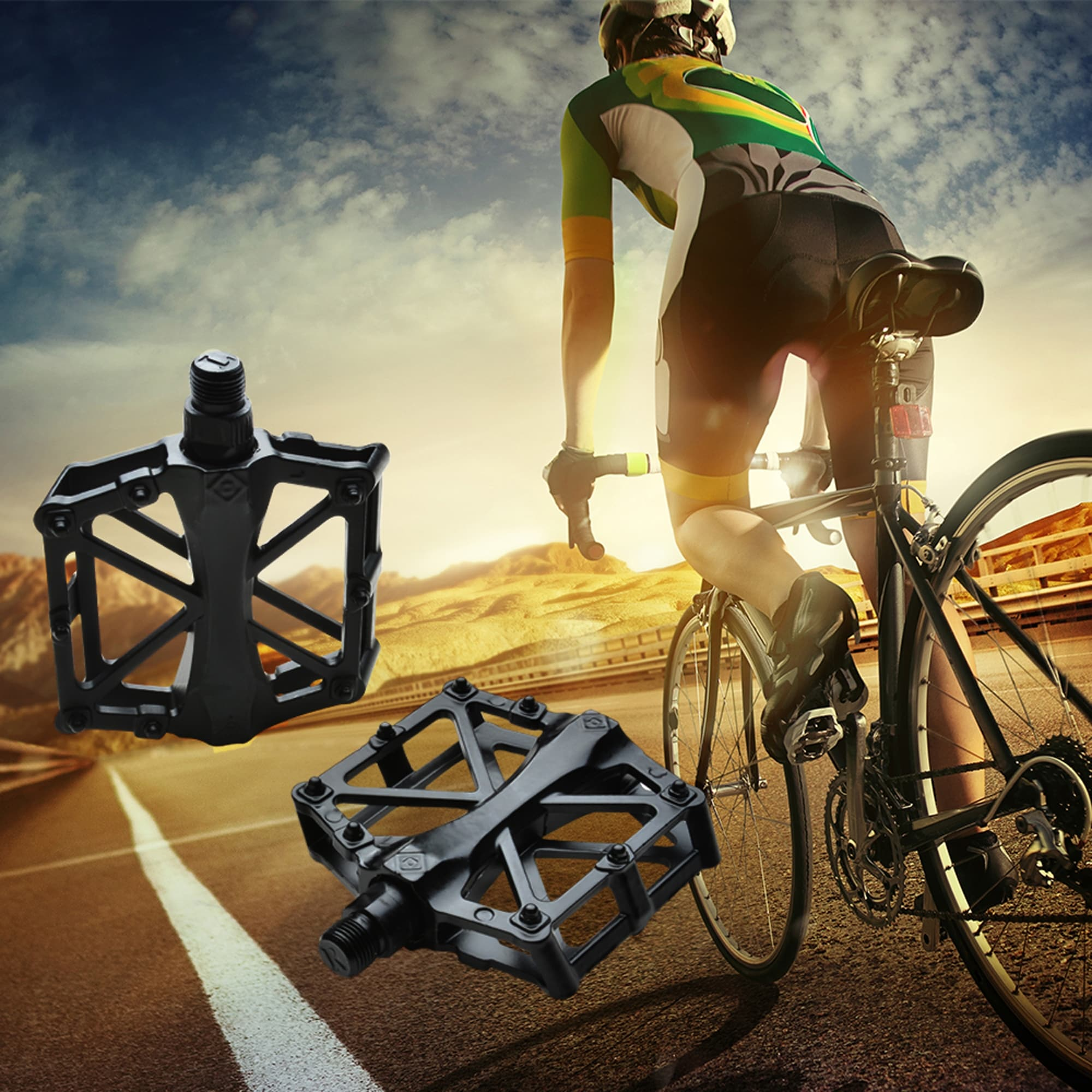 Mountain Bike MTB BMX Bicycle Cycling Alloy Flat Platform Bearing Pedals 9//16 in