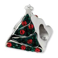 Sterling Silver Reflections Green/Red Crystal Christmas Tree Bead
