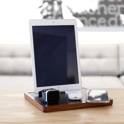 NYTSTND QUAD 5-Coil Wooden Wireless Charging Pad With USB-C Dock