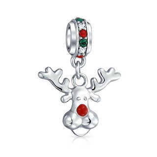Bling Jewelry Red Nosed Christmas Reindeer Bead Charm .925 Sterling Silver