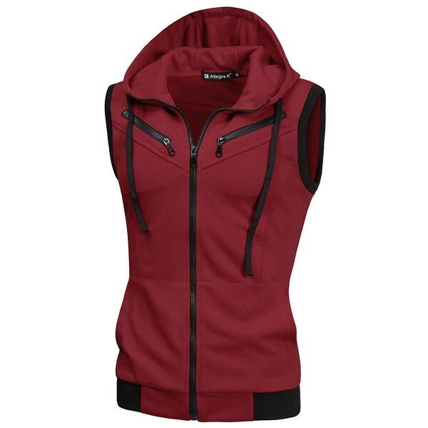 Men Kangaroo Pocket Zip Up Drawstring Hooded Vest. Opens flyout.