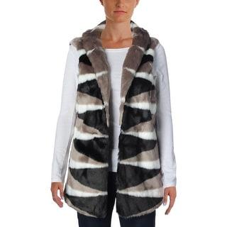 Nic + Zoe Womens Faux Fur Lined Casual Vest - L