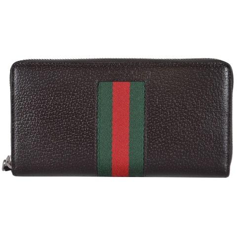 "Gucci 408831 Brown Leather Red Green Web Stripe Zip Around Wallet Clutch - 7.5"" x 4"" x 1"""