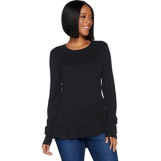 Link to Isaac Mizrahi Womens Crossover Ruffle Peplum Sweater Plus 2X Black A298791 Similar Items in Loungewear