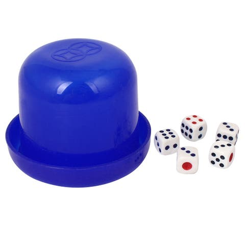 Party Bar Hand Shaking Guess Games Tool Plastic Dice Cup Box Blue w Dices