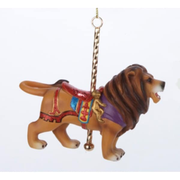 "4.25"" Lion with Carousel Pole and Saddle Christmas Figure Ornament"